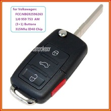 New 4 Buttons 315Mhz Remote Control Key Fob ID48 Chip for VW Beetle Golf  Jetta Passat GTI  2002-2006 FCC ID:1J0 959 753 AM