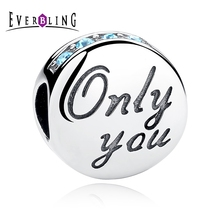 Everbling Jewelry Only You Love Blue CZ 100% 925 Sterling Silver Charm Beads Fit European Charms Bracelet Y(China)