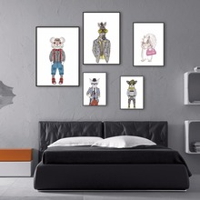 Modern Minimalist Nordic Cute Animals Fashion Art Room Poster Prints of The Children's Home of Canvas Painting  Wall Decoration