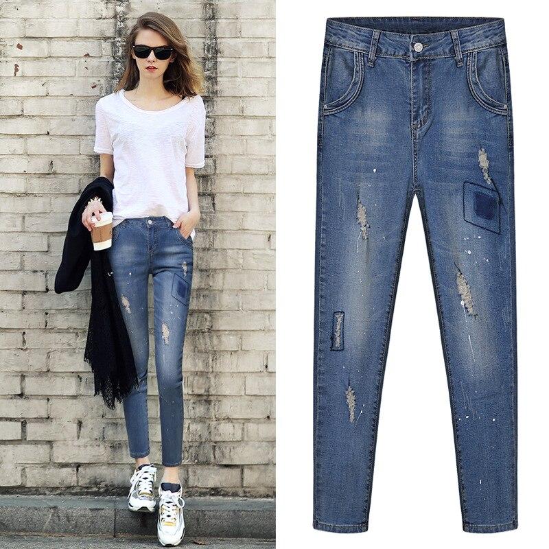 European British style 2017 spring women jeans high quality fashion show thin hole ripped elastic slim woman denim pants D261Îäåæäà è àêñåññóàðû<br><br>