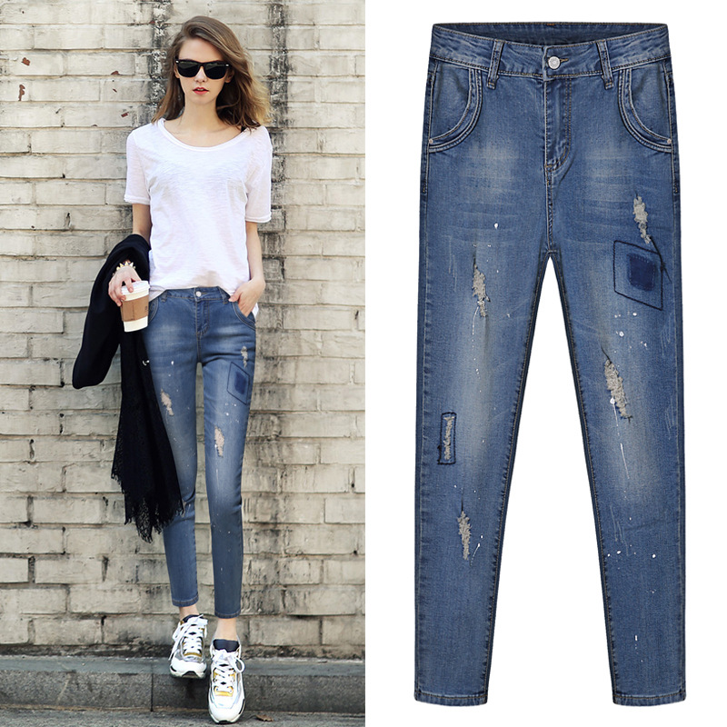 The European station 2017 new spring fashion show thin elastic hole 9 pants baggy pants and jeans 2715Одежда и ак�е��уары<br><br><br>Aliexpress