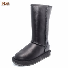 INOE Classic real sheepskin leather sheep fur lined high winter snow boots for women winter shoes waterproof flats 35-44 black(China)