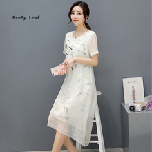 Summer new fashion Chinese fake two pieces of bamboo short sleeves in long paragraph dress female