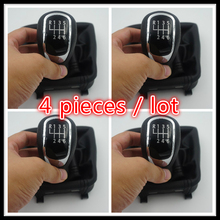 FAST SHIPPING 4 pc FOR NEW 6 SPEED CAR MANUAL GEAR shifter KNOB WITH LEATHER BOOT 3T0711113B(China)