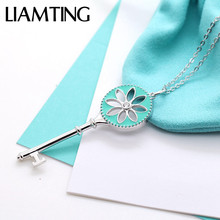 LIAMTING Hot Sale 925 Sterling Silver Key Pendant Necklace With Blue Enamel Lady Lovely Pure Silver Lotus Charms Necklace VA182