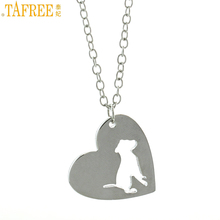 TAFREE women fashion Heart-shaped pendant bulldog statement necklace stainless steel pet dog lover animal charms jewelry SKU01