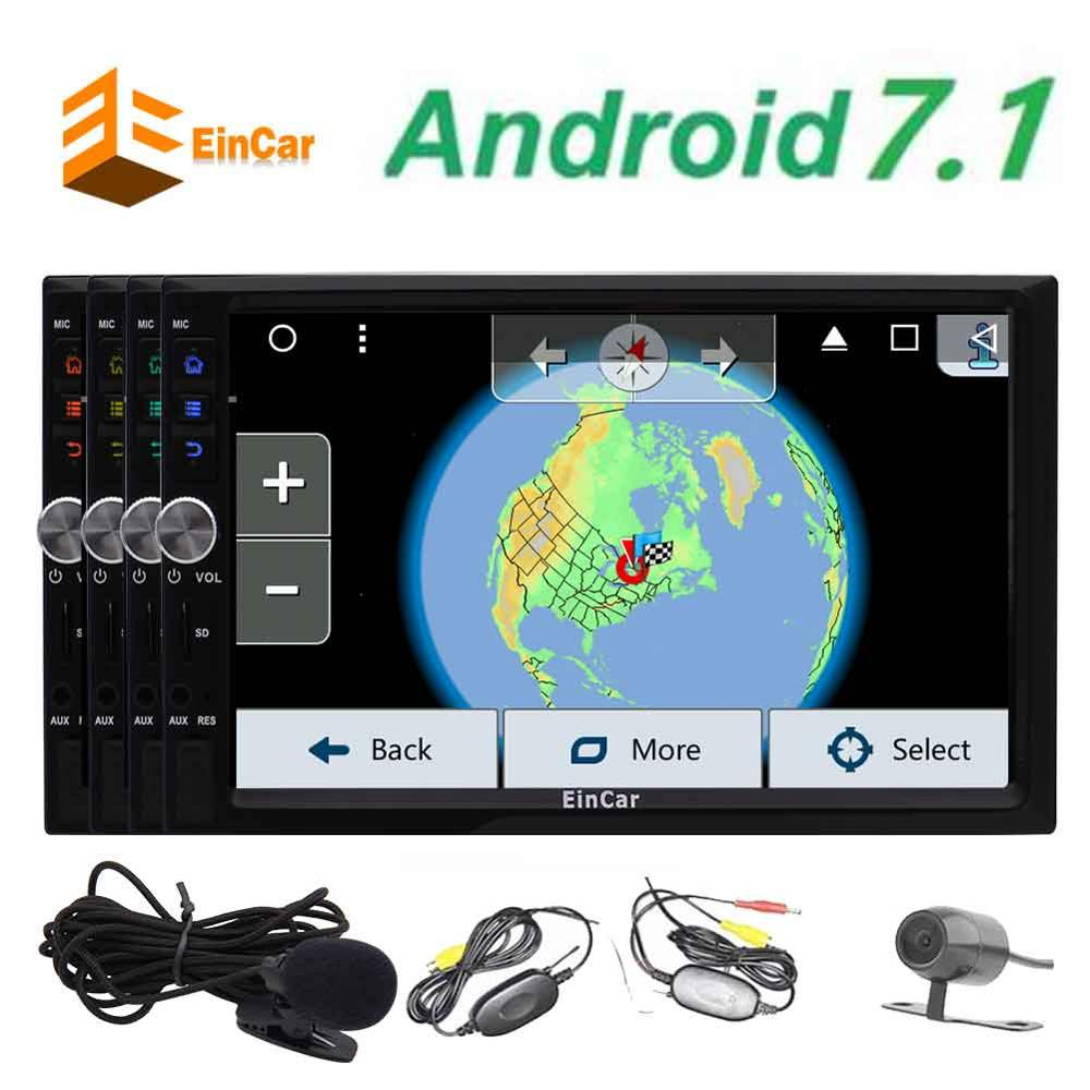 Android 7.1 Car Radio Audio Stereo 2Din Headunits In Dash Autoradio Support GPS Navigation BT SWC USB SD Wifi Wireless Camera