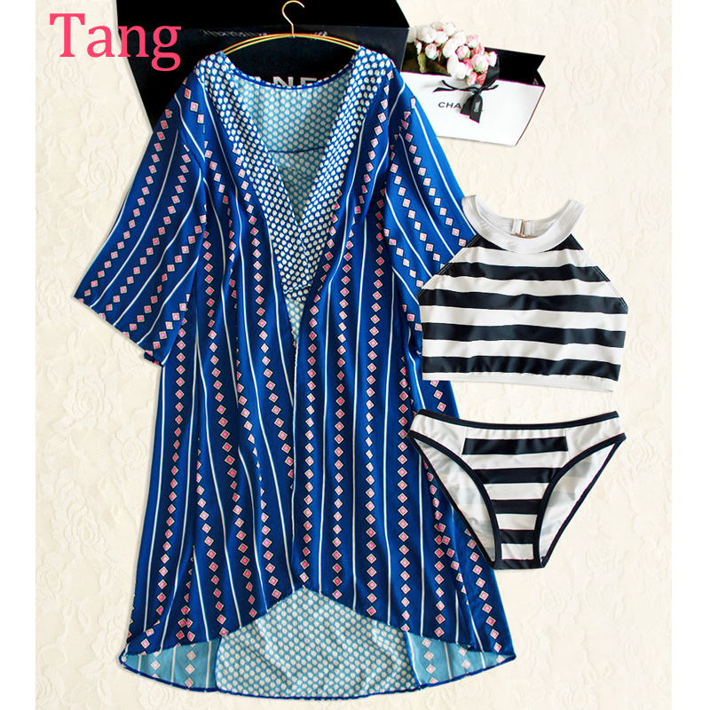 STAR MENG seaside holiday long blouse sun three piece swimsuit female small chest round black and white striped swimsuit<br><br>Aliexpress
