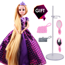 New Fashion Princess Doll Rapunzel Long Hair 3D Realistic Eyes best Birthday Christmas Gift for girl same for barbie doll toys(China)