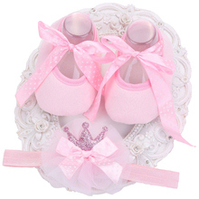 Red Polka Dot Baby Girl Shoes Bow-Knot Headband Set First walkers;Soft Soled Lace-Up Toddler Girl Shoes Sapato Infantil Menina(China)