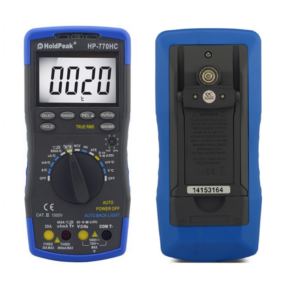 Multimetro HoldPeak HP-770HC True RMS Auto Ranging Digital Multimeter with NCV Feature and Temperature/Frequency/Duty Cycle Test<br>