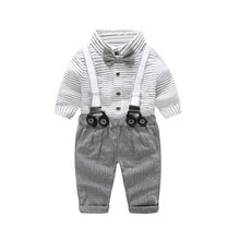 baby boy clothing Gentleman long-sleeve stripe Bow tie shirt + suspenders wedding party formal newborn infant clothes suit
