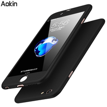 Aokin 360 Phone Case Cover For iPhone 6 6S Plus 7 7 Plus Phone Case Tempered Glass Luxury 360 Degree Protection Mobile Phone