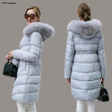Winter coat with a hood 2017 winter new knee-length cotton underwear long hair collar Korean students down jacket cotton jacket