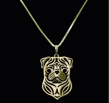 Unique Handmade Boho Chic Pug Necklace Female and Male Gift Jewelry Necklace--12pcs/Lot(6 Colors Free Choice)(China)