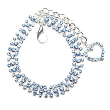Dog Cat Collar with Crystal Heart Designer Diamond Pet Jewelry Rhinestone Necklace(China)