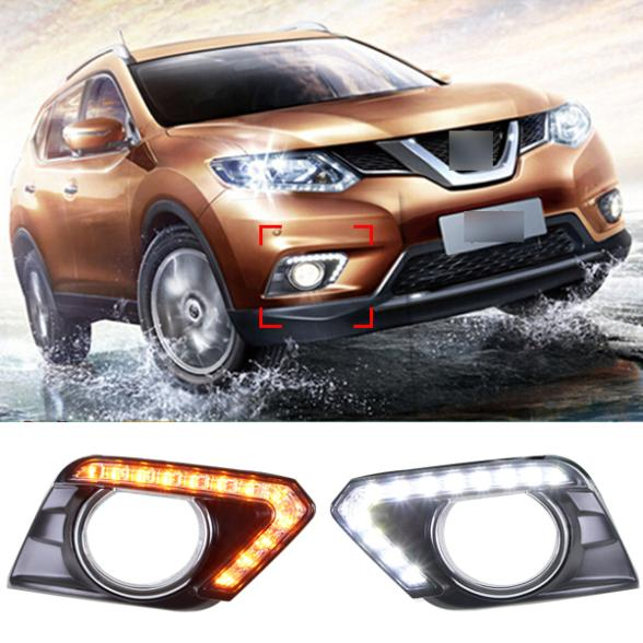 12  LED Car Styling DRL For Nissan New X-TRAIL 2014 2015 Daytime running lights With Turning Signal High Quality<br><br>Aliexpress