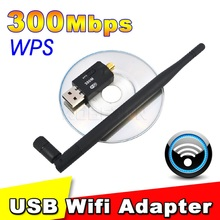 300Mbps Mini Wireless USB WiFi Adapter Wireless network card  lan card With External Antenna WPS function button for laptop pc