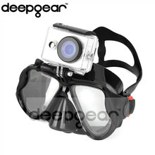 Deepgear Black Adult scuba mask for nearsighted Myopia silicone dive mask Men camera mount sea dive masks for Gopro Hero Xiaomi(China)
