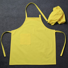 Kids Long Cotton Bib Apron& Oversleeve Home Baking BBQ Cooking Kitchen Clothes Children Painting Crafting Drawing Work wear B92(China)