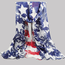 [Visual Axles] Blue Color Women Print Star Scarf Women British Flag Scarf