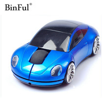 BinFul New Mini 2.4Ghz 1600DPI 10m Wireless Car Shape Colorful USB LED Optical Mouse Mice For PC Laptop Notebook(China)
