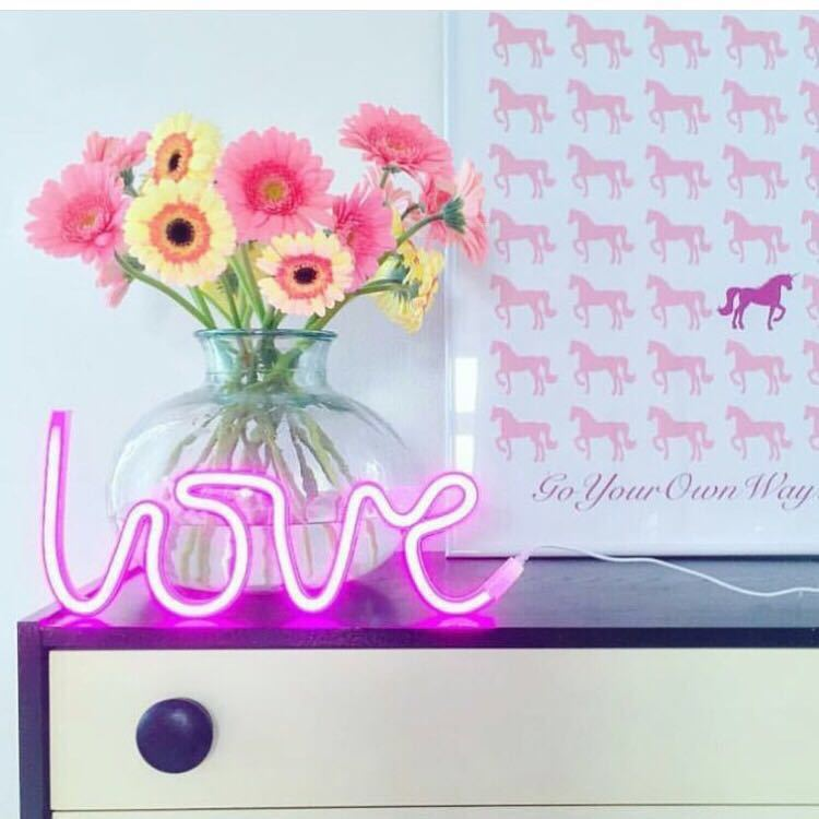 New Love Neon Art Sign Visual Artwork Light Beer Bar Boutique Poster Children Kids Girls Wall Decor Wedding Accessories(China (Mainland))