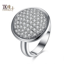 TANGKA female fashion popular round halo ring sunflower ring with women to participate in cocktail party zircon ring