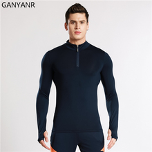 GANYANR Running T Shirt Men Long Sleeve Basketball Tennis Gym Sportswear Exercise Tights Compression Jogging Fitness Tops Tee(China)