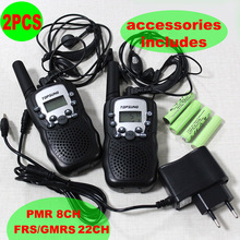 Portable Walkie Talkies Pair T388 99 Privacy Codes PMR446 or FRS/GMRS Two Way Radio 8CH or 22CH+Earphone+Charger+Battery