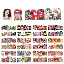 12 sheets Sexy Nail Sets Fashion Sticker Full Cover Lips Cute Printing Water Transfer Tips Nail Art Decorations JIBN349-360