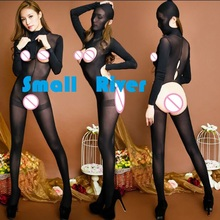 New arrival quality Sexy Fashion Women's Zentai Teddies &Bodysuits Female Black Headgear long sleeved open crotch body stockings(China)