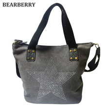 BEARBERRY 2017 BIG STAR CANVAS HANDBAG - Multifunctional Sequined Travel Factory Outl Shoulder Bag Diamonds Vintage Bolsos(China)