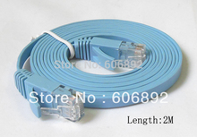 20pcs/lot 2M CAT6 RJ45 cable Flat UTP 10/100/1000Mbps Ethernet Network Cable For PC Router DSL Modem