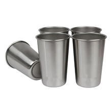 Realand Durable 5pcs 16oz Stainless Steel Beer Mug Pint Tumbler Coffee Wine Juice Cup Water Mug Camping Outdoor Everyday Use