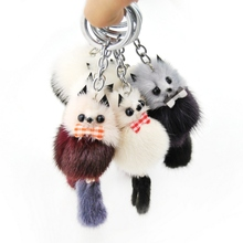 Cute Fluffy Raccoon Key Chain Women Bag Charms Genuine Mink Fur Pompom Bear Key Ring Pompon Toy Plush Doll Car Key Holder Gift