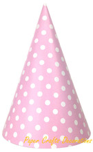 12pcs/lot  20cm*13.3cm Baby Pink Polka Dots Party Paper Cone Hats Party Caps Girls Birthday Baby Shower Party Event Supplies
