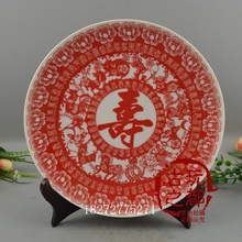 Jingdezhen blue and white porcelain to do the old crane Shou Changchun plate ornaments buy plates