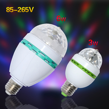 1Pcs E27 3W 6W RGB Stage LED Light Auto Rotating Holiday Lamp AC85V-265V Disco DJ Party Holiday Dance Bulb Christmas Lighting()