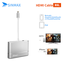 HDMI VGA Audio Headpone Adapter Play Music + Charging Cable 8 Pin Adapter for Iphone 8 8plus x 6s 7s Ipad Support iOS 10(China)