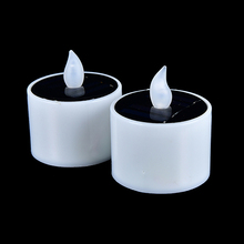 Plastic Solar Energy Candle for Outdoor Yellow Solar Power LED Candles/Flameless Electronic Solar LED Tea Lights Lamp(China)