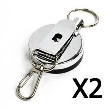 2 PCS (D) Silver Color Metal retractable Reel with Belt Clip, Belt Loop Clasp & Key Ring for Key/ID Badge/Nurse(China)
