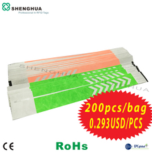 200pcs/pack Tyvek ID Bracelet Wristbands 915MHz UHF Passive RFID Label Sticker Disposable Waterproof Design Tag For Party Event