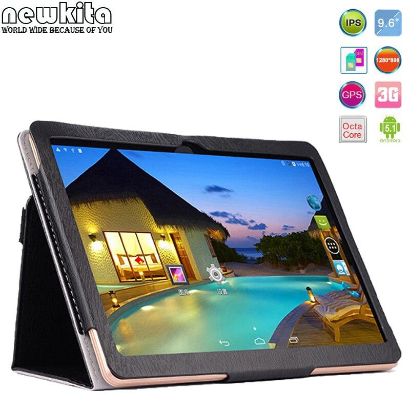 Newkita 9.6 Octa Core 3G Tablet Android 5.1 RAM 4GB ROM 32GB 5.0MP Dual SIM Card Bluetooth GPS Tablets 7 9 10.1 Flip Case Free<br><br>Aliexpress