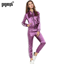 Gagaopt 2017 Tracksuit Women Spring Autumn Casual 2 Pieces Purple/Green Suit (Hooded Sweatshirt+Long Pants) Zipper Leisure Suits