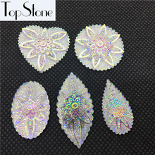 Big Sizes Resin Cabochon Flower Crystal AB Color 30pcs Flat Back Drop,Navette,Oval,Round,Heart Shape(China)