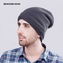 AIWOSHOW 2017 Fashion Design Beanies For Men Skullies Solid Color Shiny Hip Hop Beanie knitted Cap Outdoor Windproof Wool Hat(China)