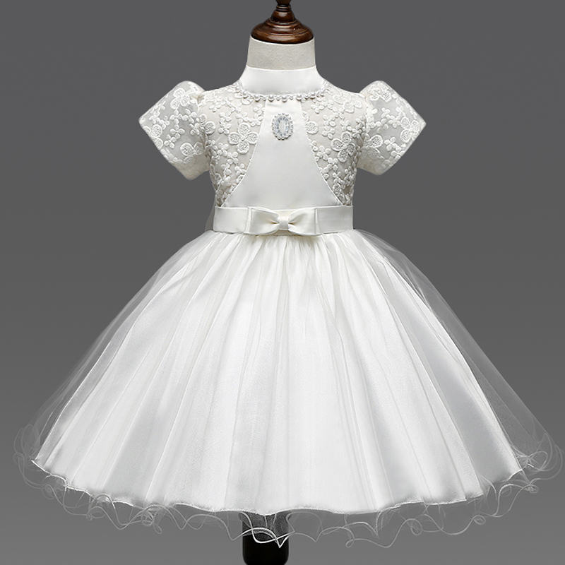 New Summer 2017 White Party Dress Baby Girl Christening Gowns Kids Pageant Dresses Lace Flower Girl Prom Princess Formal Dresses<br><br>Aliexpress