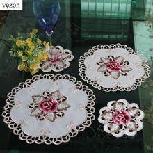 vezon New Hot Quality Round Elegant Polyester Floral Embroidery Placemat Tablecloth Embroidered Napkins Rose Covers