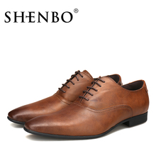 SHENBO Brand Leather Men Derby Shoes, Casual Brown Men Oxford, High Quality Soft Leather Oxford Shoes For Men, Men Dress Shoes(China)